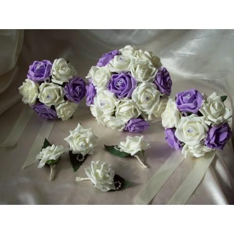 Lot mariage thème bonbon avec bouquets, corsage, boutonniere