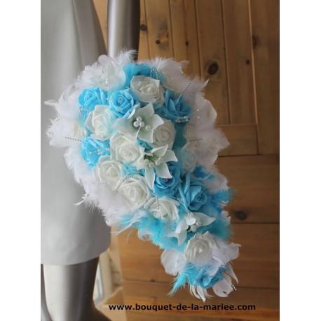Bouquet Mariée et Boutonnière Lys Plumes turquoise et ivoire