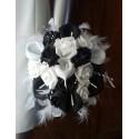 Bouquet de Mariée rond Arums noir et blanc perlé