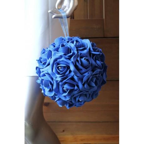 Boule des roses mariage bleu roi orn des strass bouquet de la mariee - Strass pour bouquet de mariee ...