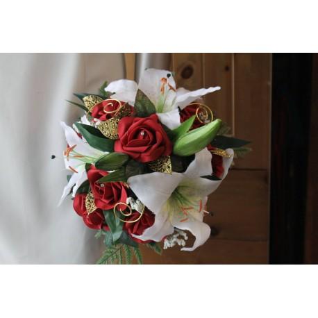 Bouquet de Mariée Exceptionnel avec des roses, lys, perles, gemmes