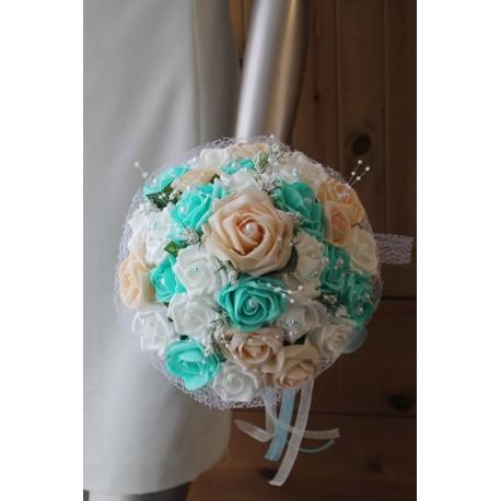 Bouquet mariage pastel verte menthe et pêche perlé