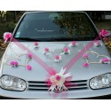 Décoration voiture mariage coeurs tulle ruban fuchsia
