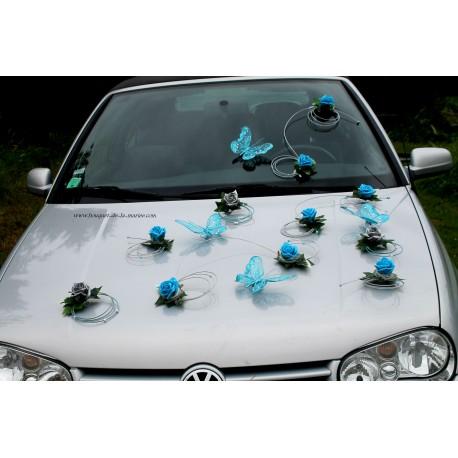 d coration voiture mariage turquoise gris argent papillon bouquet de la mariee. Black Bedroom Furniture Sets. Home Design Ideas