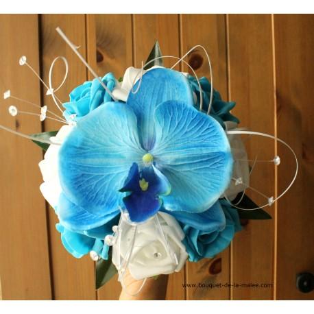 Bouquet mariage demoiselle d'honneur orchidée bleu
