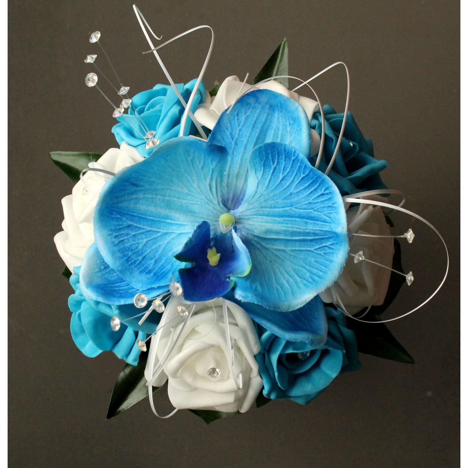 bouquet mariage demoiselle d'honneur orchidée bleu - bouquet-de-la