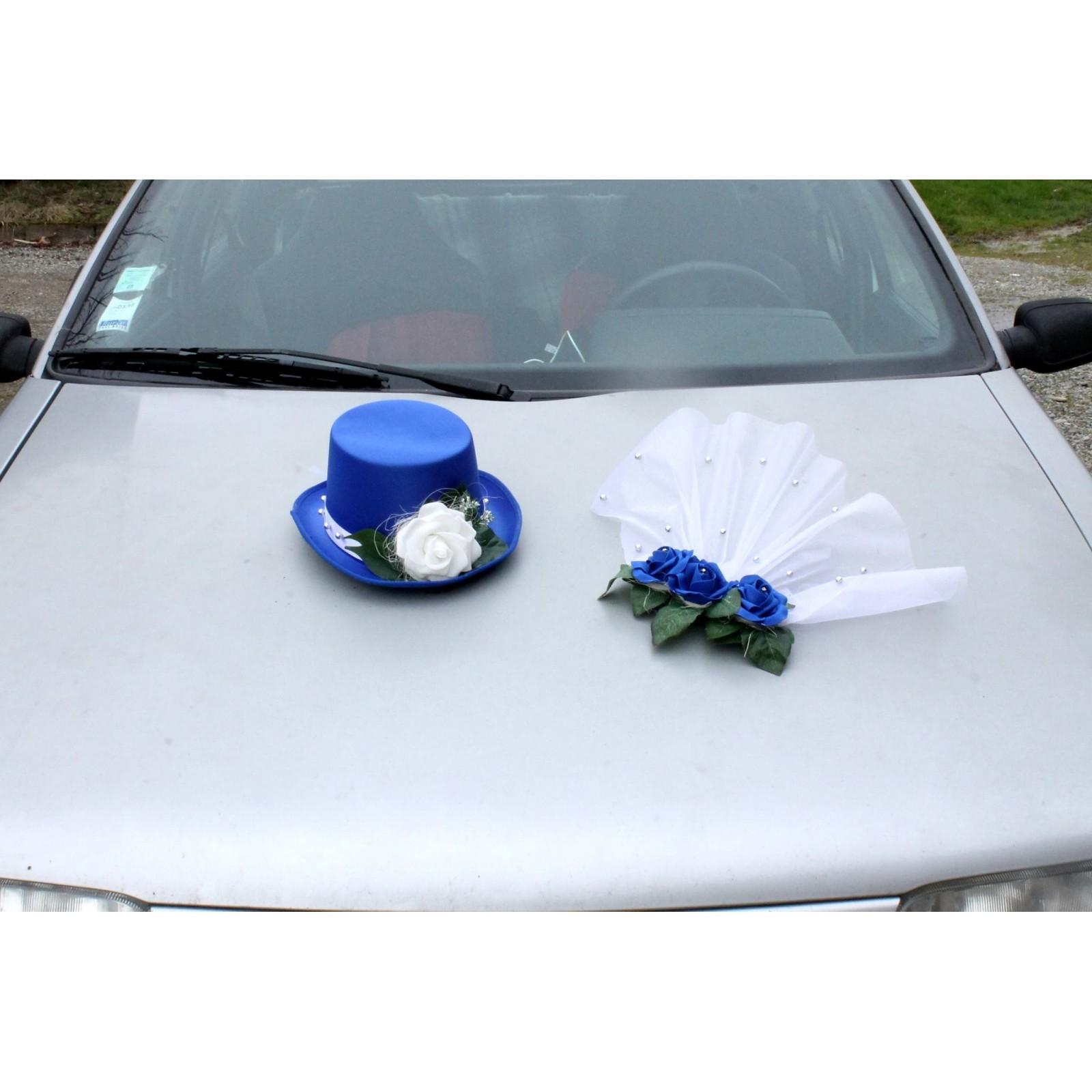 sélectionner pour dernier tout à fait stylé plusieurs couleurs Chapeau et voile pour la voiture de mariage couleur bleu ...