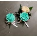 6 Boutonnières mariage verte menthe et pêche perlé