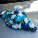 Composition de voiture pour mariage thème bleu roi et turquoise