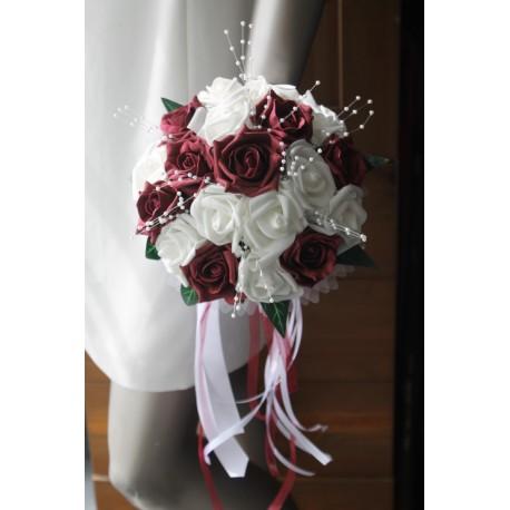 Bouquet mariee rond bordeaux diamantes