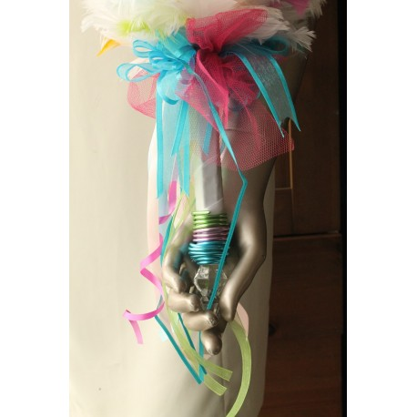 Bouquet de mariée arc en ciel plumes et perles fait main