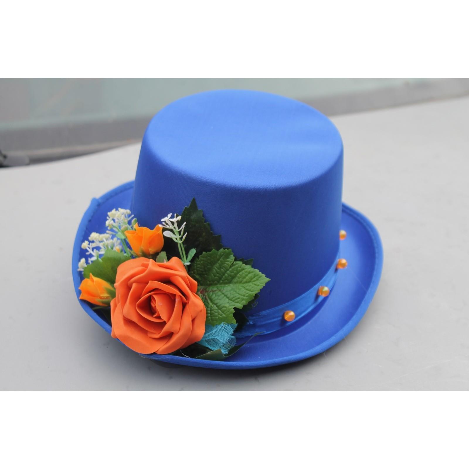Decoration Voiture Mariage Chapeau Voile Et Cœurs Orange Et Bleu Roi