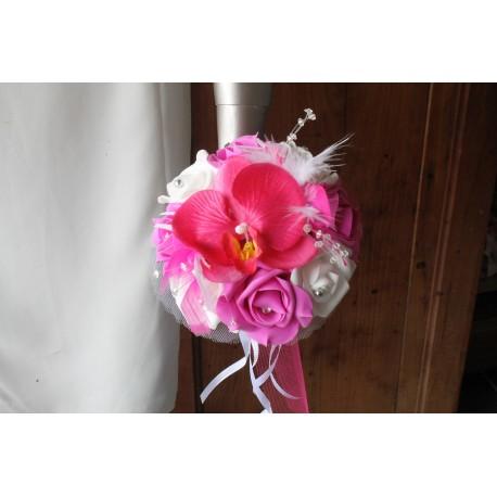 Bouquet mariage demoiselle d'honneur orchidée fuchsia