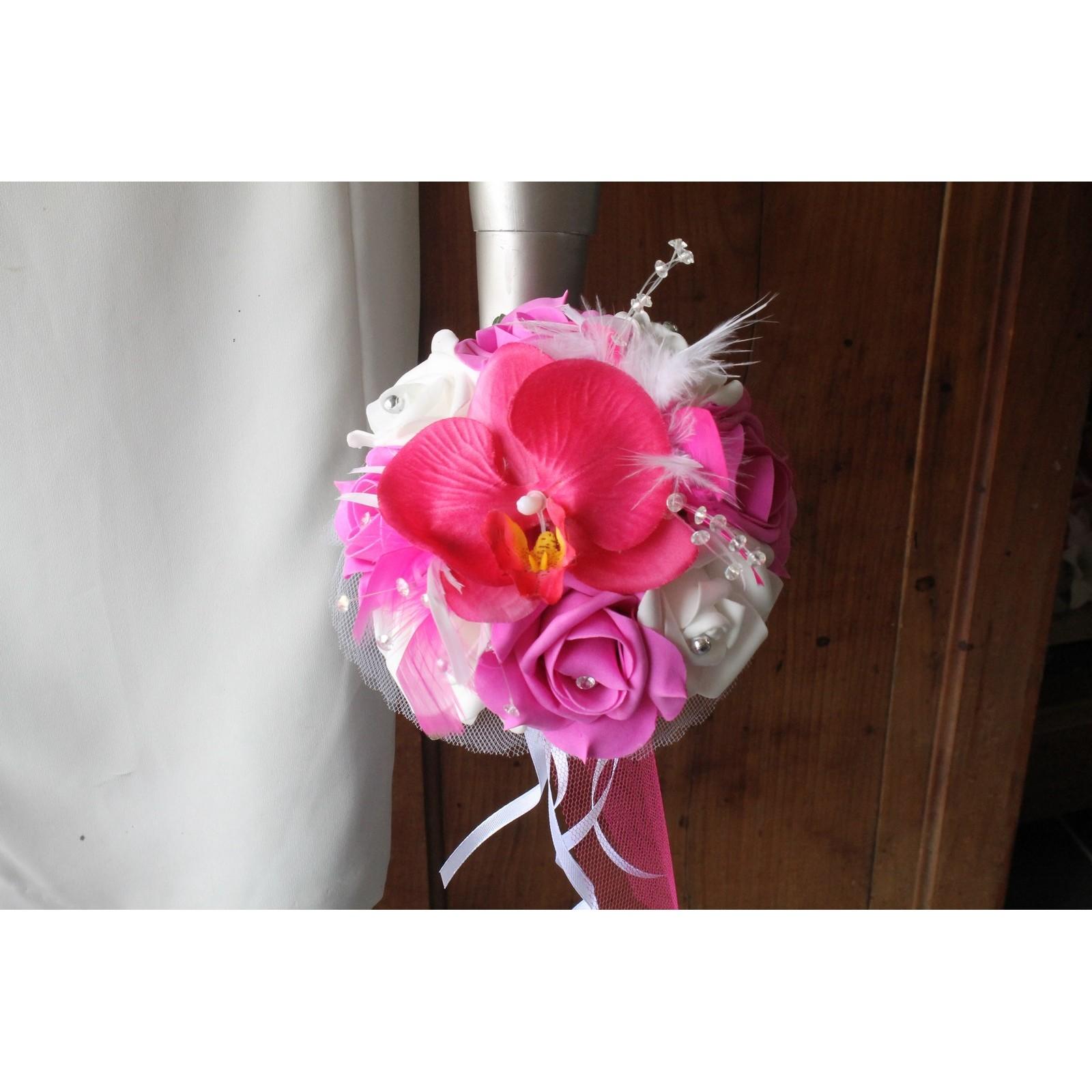 bouquet mariage demoiselle d'honneur orchidée fuchsia - bouquet-de