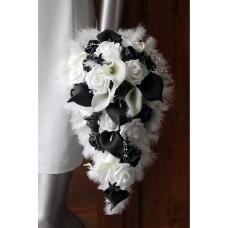 Lot bouquet et 3 boutonnières arums noir et blanc