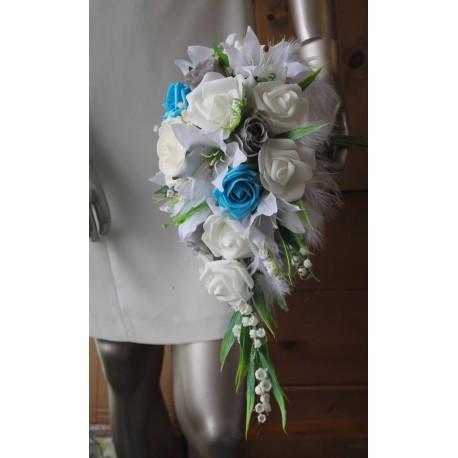 Bouquet de mariée Roses, Lys, gypsophile et muguet blanc turquoise
