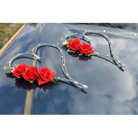 Décoration voiture mariage coeurs gris argenté et rouge!