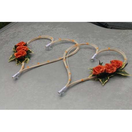 Coeurs perlé avec roses orange