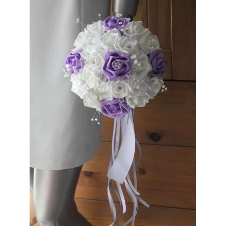 Bouquet de mariée mariage parme strass et perles