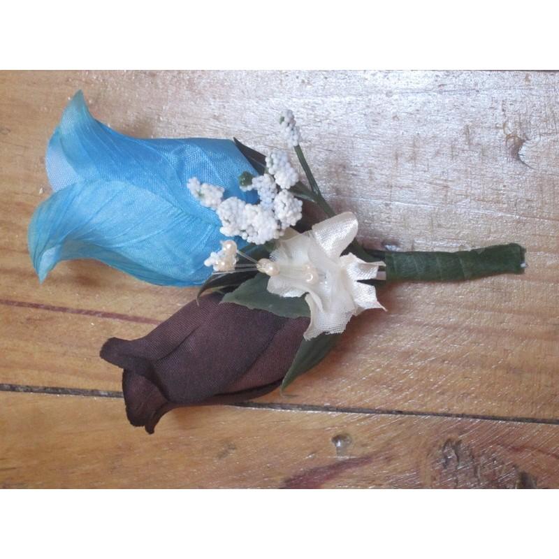 double boutonni re pour mariage l gant fait main en france bouquet de la mariee. Black Bedroom Furniture Sets. Home Design Ideas