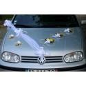 Décoration voiture mariées mariage Blanc et Or arums