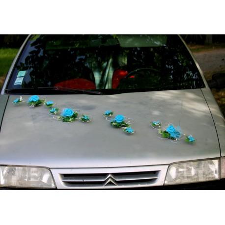 Decoration voiture mariage turquoise argent
