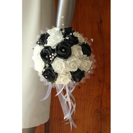 Bouquet mariee rond noir blanc diamantes