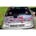 Composition voiture mariage thème Pompier et orchidée fuchsia!