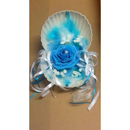 Coussin d'alliances coquillage mariage thème mer blanc et turquoise