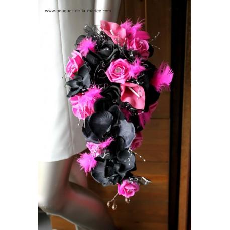 bouquet mariee tombant fushia et noir