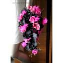 Beau Bouquet Mariée Tombant thème Fuchsia et Noir, fleurs mariage
