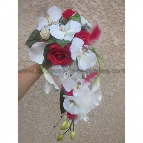 Bouquet de mariée tombant orchidée et arums