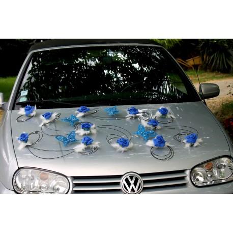 Décoration voiture mariés mariage bleu royal noir papillon