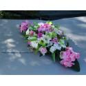 Bouquet pour capot de voiture de mariage thème fuchsia, vert anis