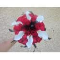 """Bouquet Mariage Rond """"Gothique"""" avec roses, arums,perles et plume"""
