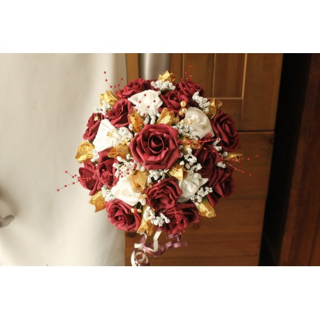 Bouquet rond bordeaux or