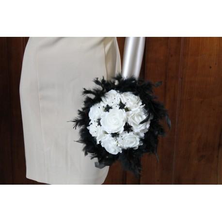 Bouquet mariée noir/blanc ou noir/ivoire