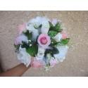 """Bouquet Mariée Rond """"Jardin Des Roses"""" avec perles, rubans"""