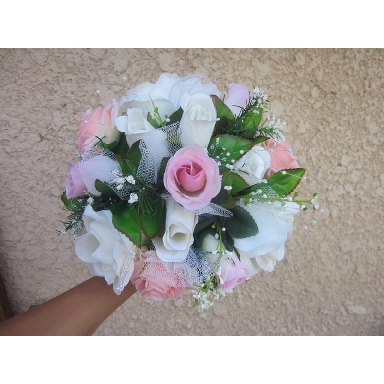 """bouquet mariée rond """"jardin des roses"""" avec perles, rubans - bouquet"""