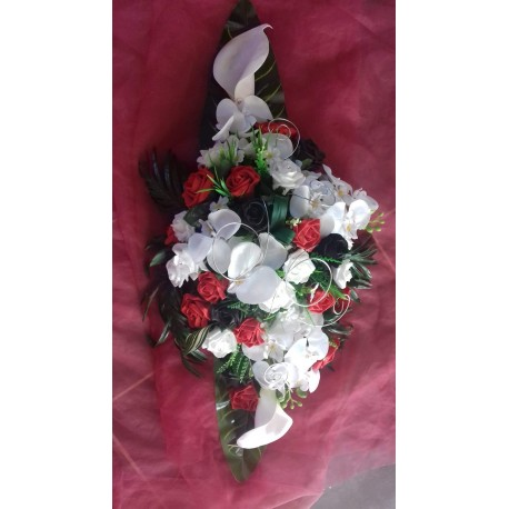 Composition Fleurs Voiture Mariage Noir Blanc Et Rouge Bouquet De