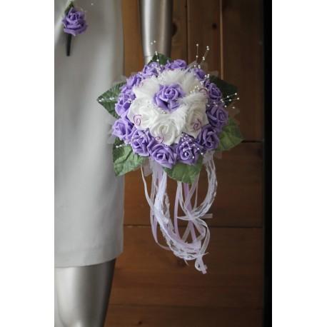 Bouquet mariée ivoire parme perles plumes