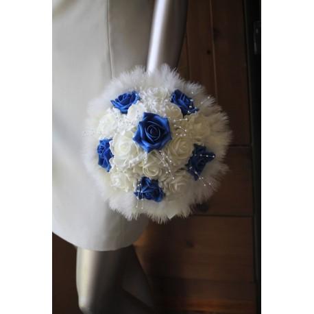 Bouquet mariee rond bleu perles plumes