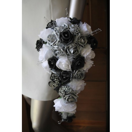 Bouquet mariée noir argent