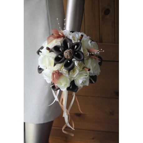 Bouquet mariée chocolat ivoire epices