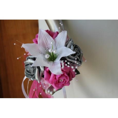 Bouquet demoiselle d'honneur Blanc, Fuchsia, Argent