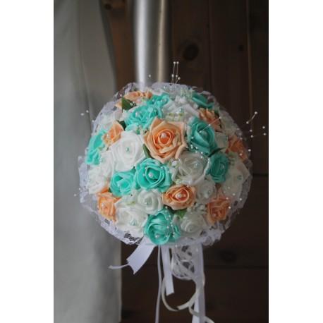 Bouquet de mariage pastel verte menthe et pêche perlé