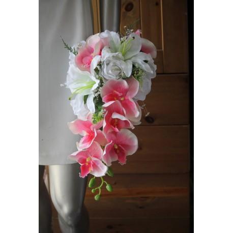PROMO Bouquet de Mariée Tombant fait avec de belles orchidées rose