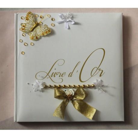 Livre d'or mariage couleur blanc et or dorée papillon perles