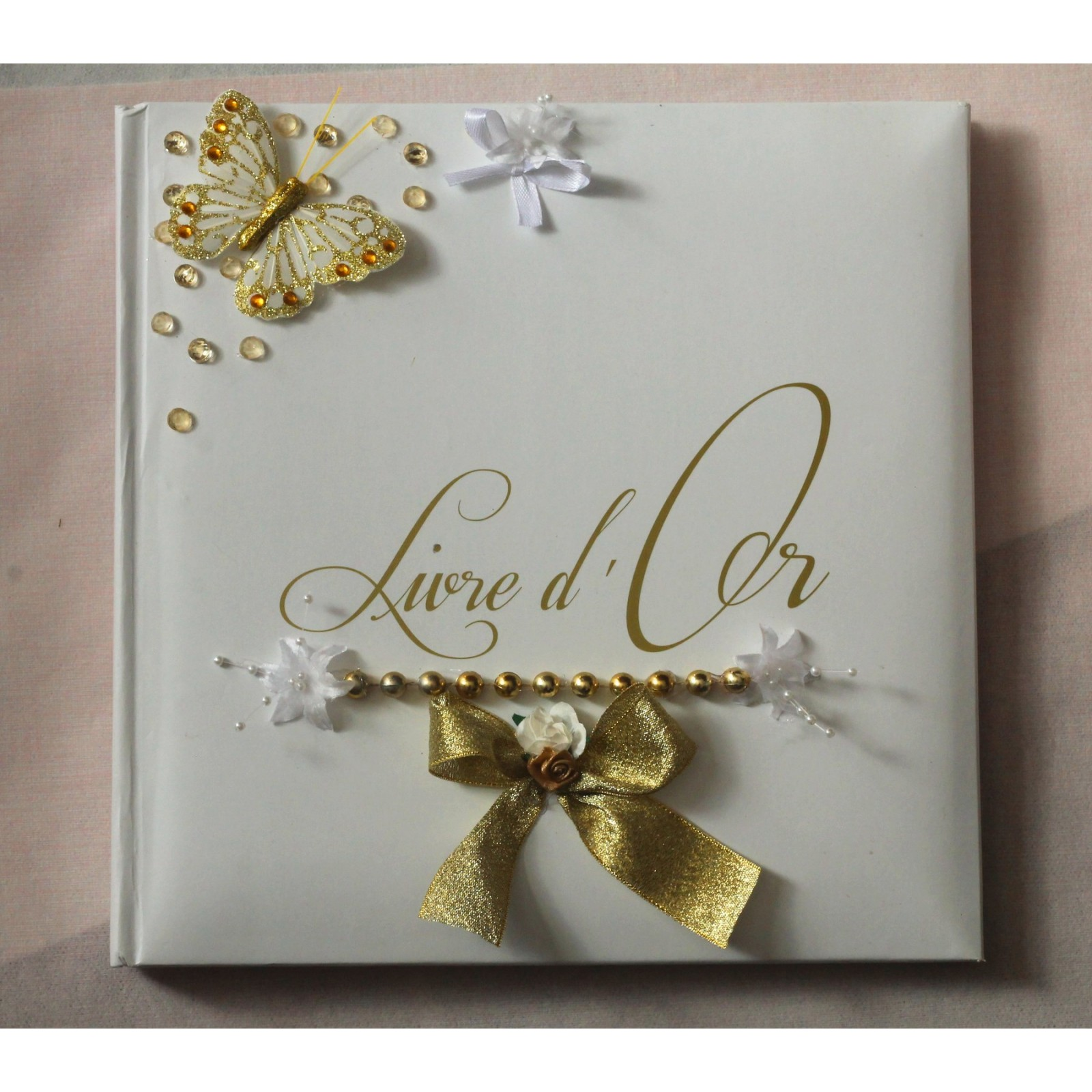 Livre D Or Mariage Couleur Blanc Et Or Doree Papillon Perles