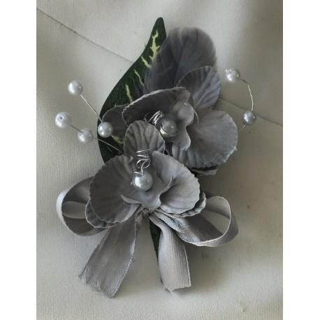 LOT Boutonnière, bracelet et épingle cheveux Mariage Orchidées gris